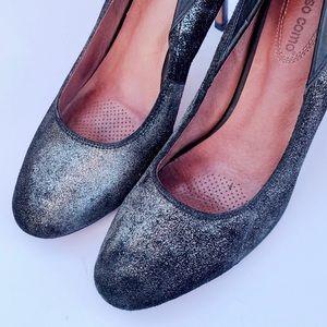 Corso Como Pewter Leather Heels Pumps 8.5